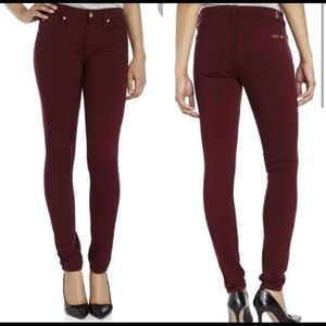 7 For All Mankind-Brick Red Mid Rise Skinny Jeans